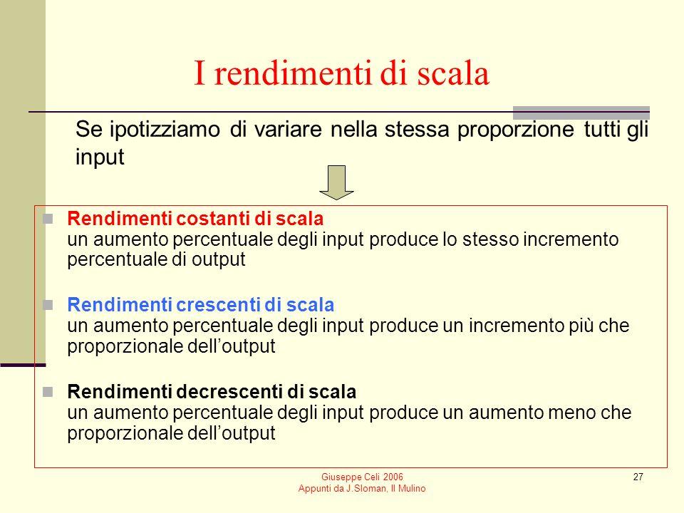 Giuseppe Celi 2006 Appunti da J.Sloman, Il Mulino 26 Nel punto di scelta ottima Il criterio di scelta della combinazione ottima degli input è dato dalluguaglianza delle produttività marginali ponderate