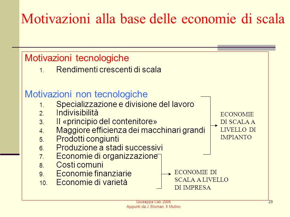 Giuseppe Celi 2006 Appunti da J.Sloman, Il Mulino 28 Economie di scala Unimpresa gode di economie di scala se i costi medi di produzione diminuiscono