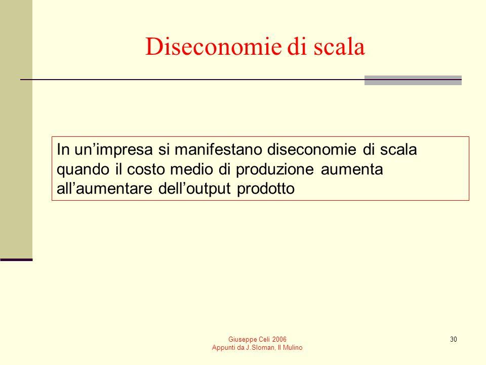 Giuseppe Celi 2006 Appunti da J.Sloman, Il Mulino 29 Motivazioni alla base delle economie di scala Motivazioni tecnologiche 1. Rendimenti crescenti di