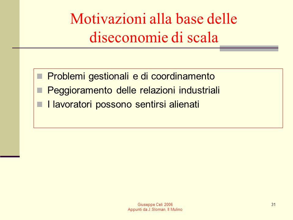 Giuseppe Celi 2006 Appunti da J.Sloman, Il Mulino 30 Diseconomie di scala In unimpresa si manifestano diseconomie di scala quando il costo medio di produzione aumenta allaumentare delloutput prodotto