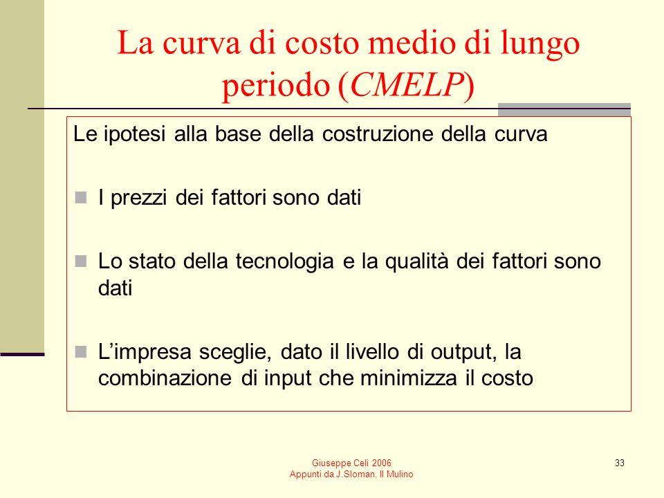 Giuseppe Celi 2006 Appunti da J.Sloman, Il Mulino 32 Economie e diseconomie esterne di scala Costituiscono aumenti o diminuzioni del costo medio di produzione dovuti alla dimensione dellindustria in cui opera limpresa