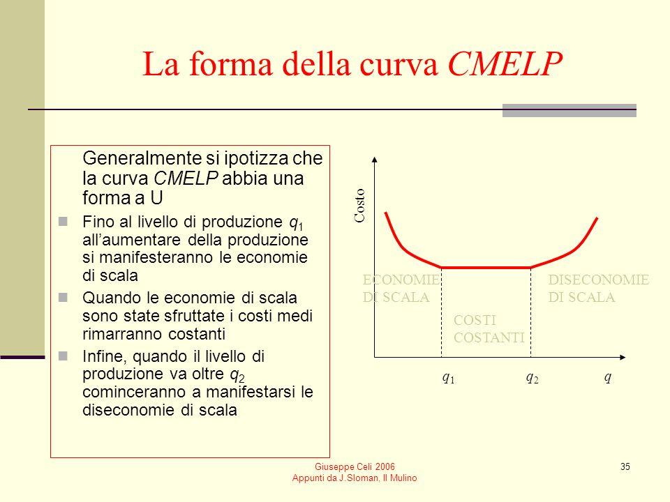 Giuseppe Celi 2006 Appunti da J.Sloman, Il Mulino 34 La forma della curva CMELP È possibile che le curve di costo medio di lungo periodo assumano diverse forme Decrescente, quando vi sono economie di scala Crescente, quando vi sono diseconomie di scala Costante, quando i costi sono costanti