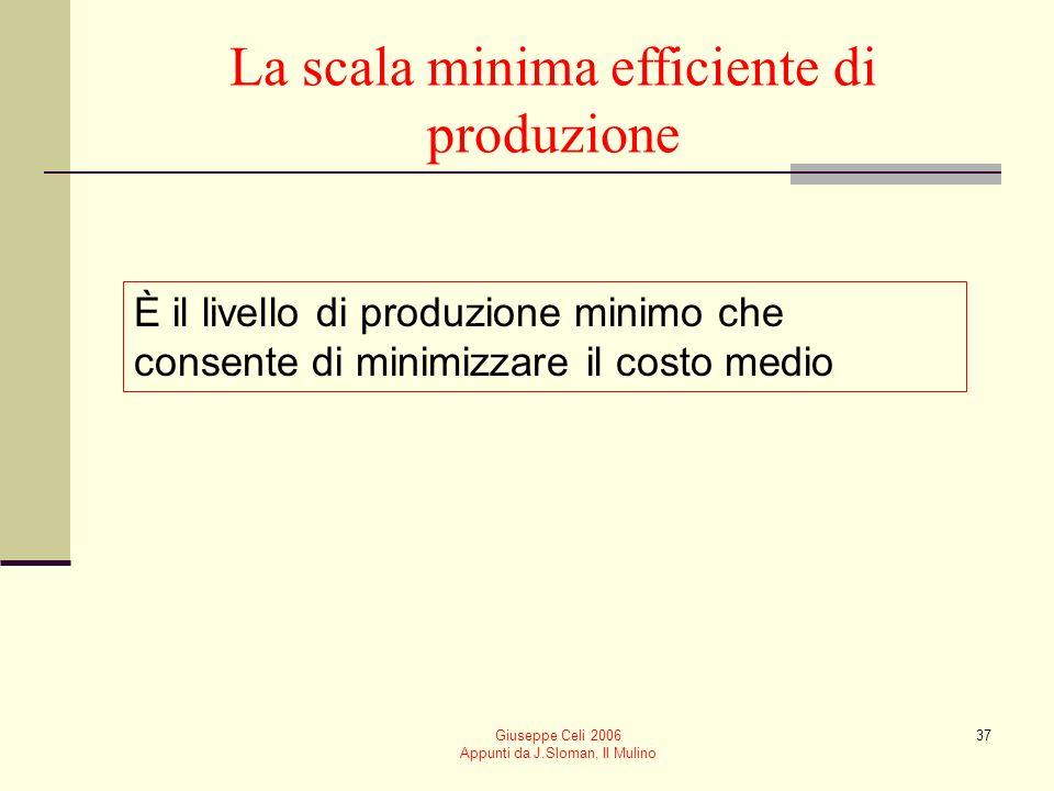 Giuseppe Celi 2006 Appunti da J.Sloman, Il Mulino 36 La relazione tra le curve di costo medio di breve e di lungo periodo Nel lungo periodo unimpresa
