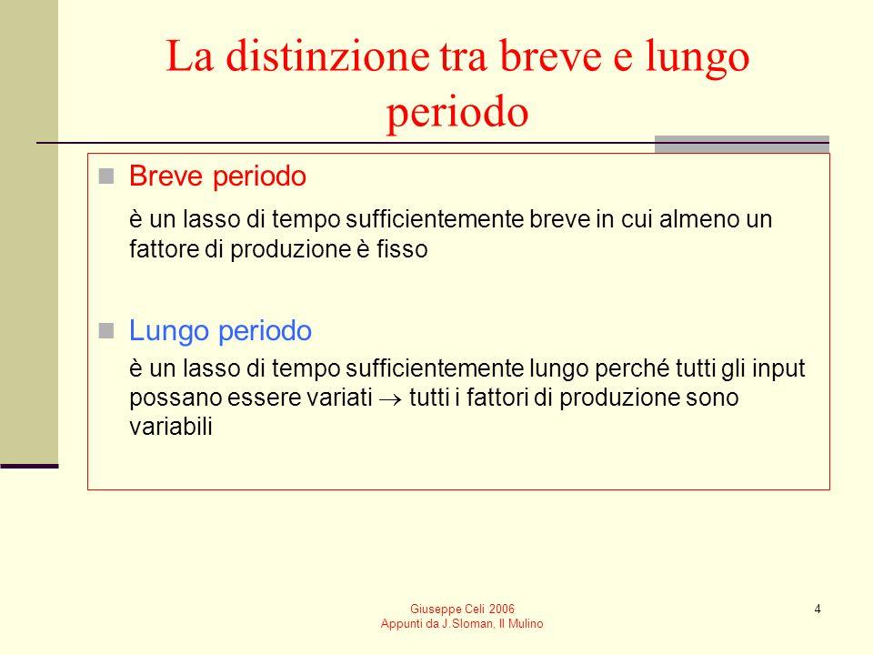 Giuseppe Celi 2006 Appunti da J.Sloman, Il Mulino 3 I fattori di produzione È possibile distinguere tra: Fattori di produzione fissi input la cui quan
