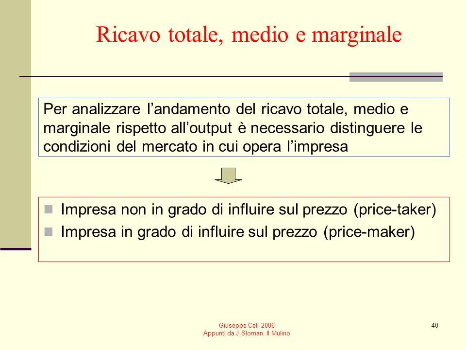 Giuseppe Celi 2006 Appunti da J.Sloman, Il Mulino 39 Ricavo totale, medio e marginale Ricavo totale RT = p q Ricavo medio è lammontare che limpresa ot