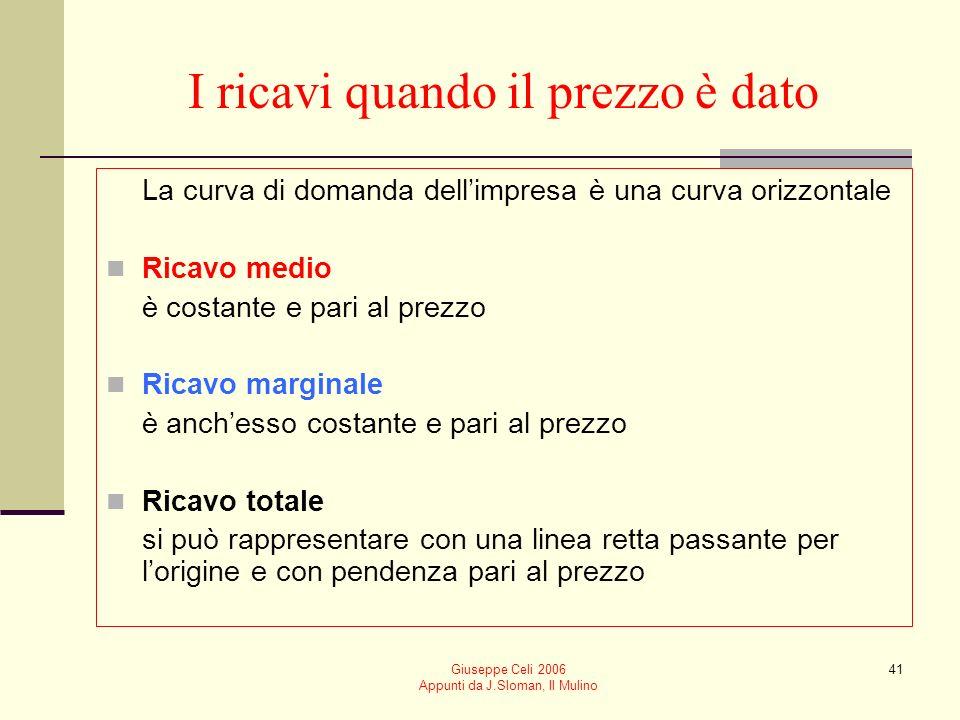 Giuseppe Celi 2006 Appunti da J.Sloman, Il Mulino 40 Per analizzare landamento del ricavo totale, medio e marginale rispetto alloutput è necessario di