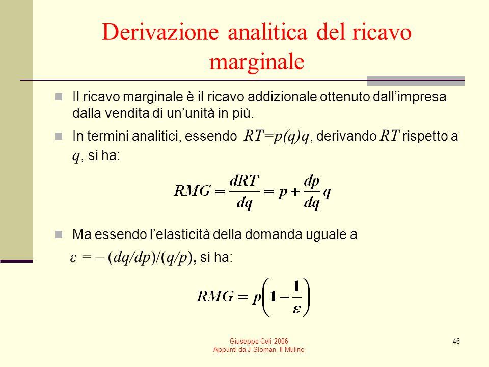 Giuseppe Celi 2006 Appunti da J.Sloman, Il Mulino 45 qp=RMERTRMG 188 2714 6 3618 4 4520 2 54 0 6318 –2–2 7214 –4–4 Ricavi di unimpresa price-maker: un esempio numerico