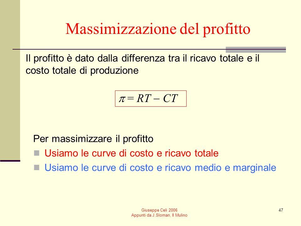 Giuseppe Celi 2006 Appunti da J.Sloman, Il Mulino 46 Derivazione analitica del ricavo marginale Il ricavo marginale è il ricavo addizionale ottenuto dallimpresa dalla vendita di ununità in più.