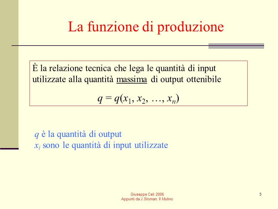 Giuseppe Celi 2006 Appunti da J.Sloman, Il Mulino 5 La funzione di produzione È la relazione tecnica che lega le quantità di input utilizzate alla quantità massima di output ottenibile q = q(x 1, x 2, …, x n ) q è la quantità di output x i sono le quantità di input utilizzate