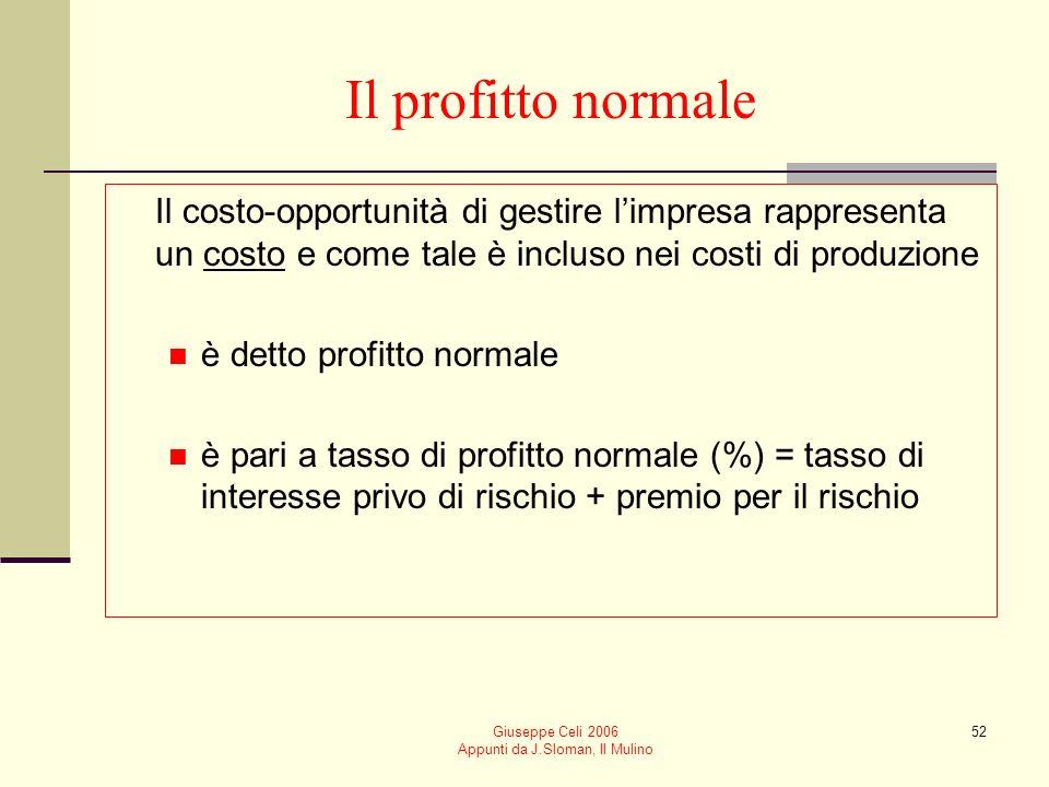 Giuseppe Celi 2006 Appunti da J.Sloman, Il Mulino 51 Massimizzazione del profitto usando ricavi e costi medi e marginali Usiamo le curve di ricavo med