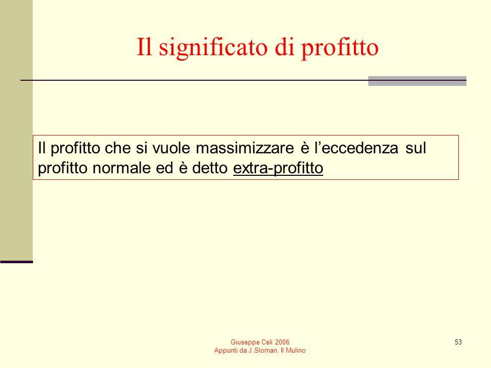 Giuseppe Celi 2006 Appunti da J.Sloman, Il Mulino 52 Il profitto normale Il costo-opportunità di gestire limpresa rappresenta un costo e come tale è i