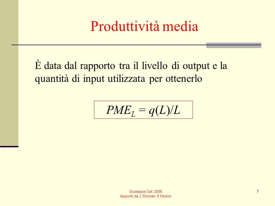 Giuseppe Celi 2006 Appunti da J.Sloman, Il Mulino 6 Funzione di produzione con un solo input variabile Illustriamo i concetti di Produttività media Produttività marginale Consideriamo il caso in cui un solo input (il lavoro L) sia variabile q = q(L)