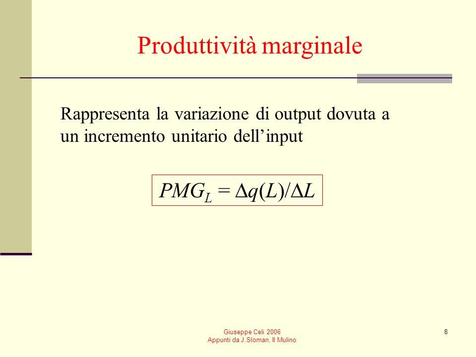 Giuseppe Celi 2006 Appunti da J.Sloman, Il Mulino 7 Produttività media È data dal rapporto tra il livello di output e la quantità di input utilizzata per ottenerlo PME L = q(L)/L