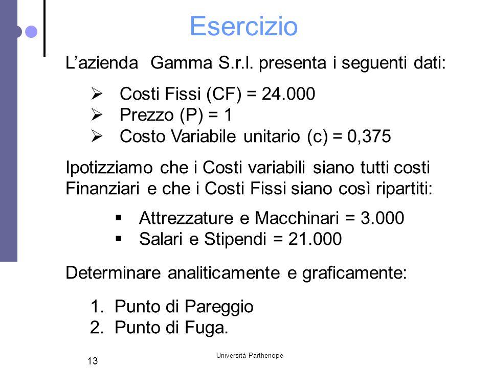 Università Parthenope 13 Esercizio Lazienda Gamma S.r.l. presenta i seguenti dati: Costi Fissi (CF) = 24.000 Prezzo (P) = 1 Costo Variabile unitario (