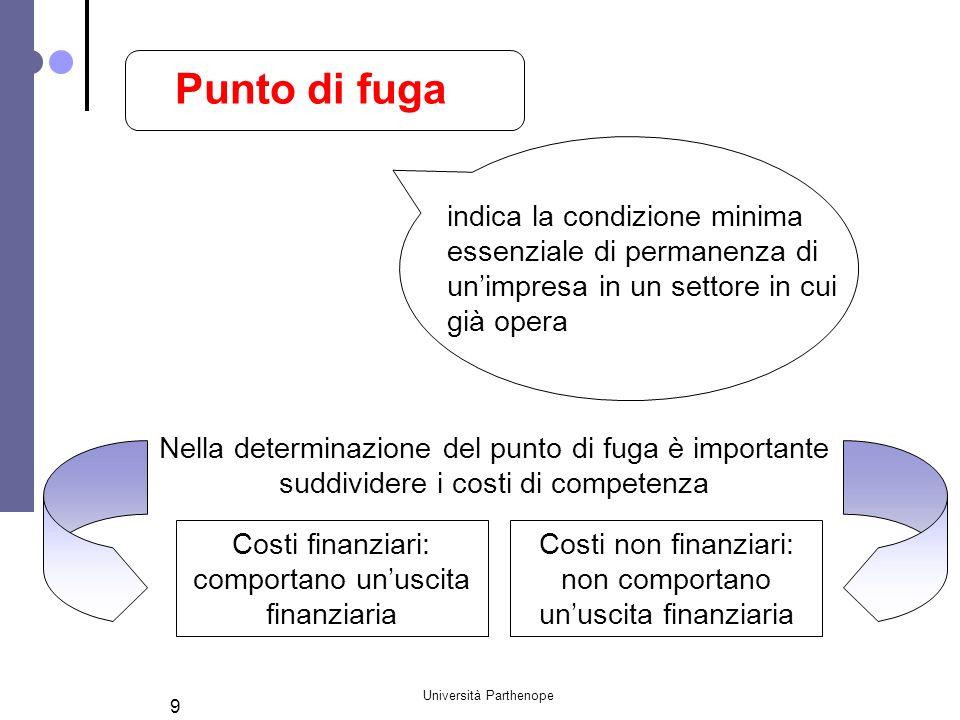 Università Parthenope 10 Q0Q0 Costi variabili Ricavi Costi totali Q2Q2 Q1Q1 Costi finanziari Costi finanziari e ammortamenti Area delle perdite Area dellautofinanziamento Area dellautogenerazione Area dellutile Il Punto di Fuga
