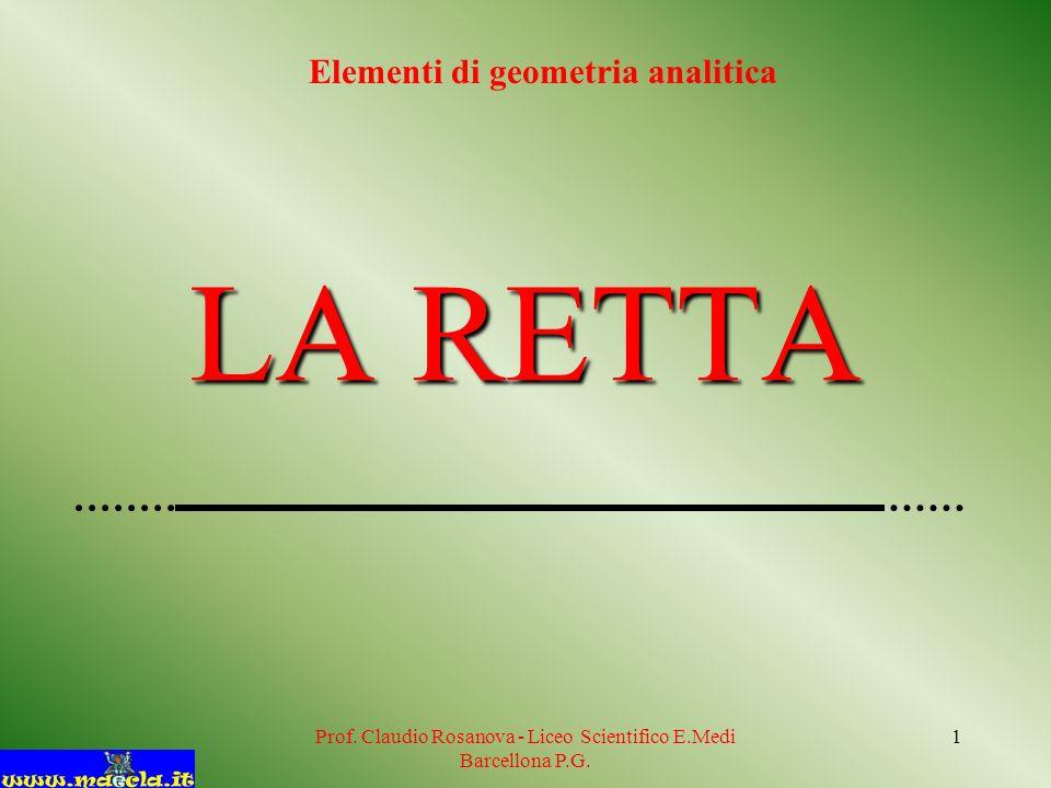 Prof. Claudio Rosanova - Liceo Scientifico E.Medi Barcellona P.G. 1 LA RETTA Elementi di geometria analitica