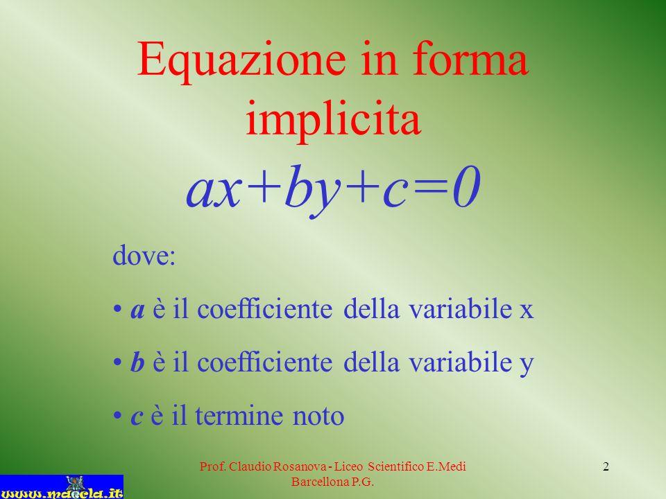 Prof. Claudio Rosanova - Liceo Scientifico E.Medi Barcellona P.G. 2 Equazione in forma implicita ax+by+c=0 dove: a è il coefficiente della variabile x