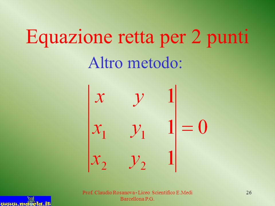 Prof. Claudio Rosanova - Liceo Scientifico E.Medi Barcellona P.G. 26 Equazione retta per 2 punti Altro metodo: