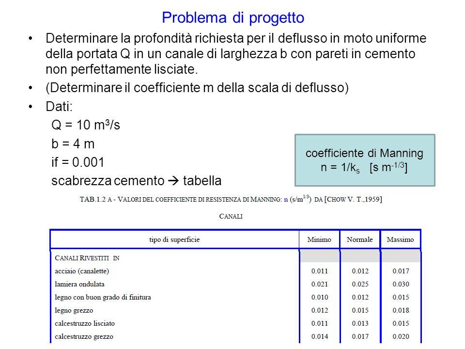 Problema di progetto Determinare la profondità richiesta per il deflusso in moto uniforme della portata Q in un canale di larghezza b con pareti in ce
