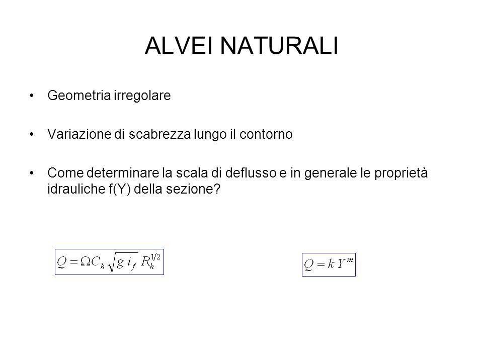 ALVEI NATURALI Geometria irregolare Variazione di scabrezza lungo il contorno Come determinare la scala di deflusso e in generale le proprietà idrauli