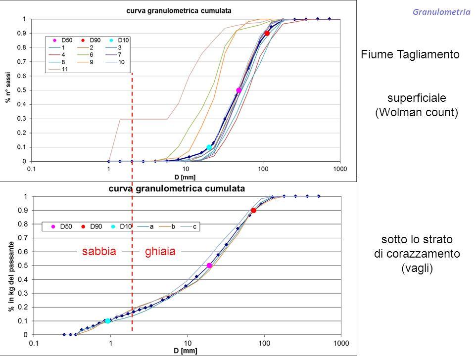 Granulometria Fiume Tagliamento sotto lo strato di corazzamento (vagli) superficiale (Wolman count) ghiaiasabbia