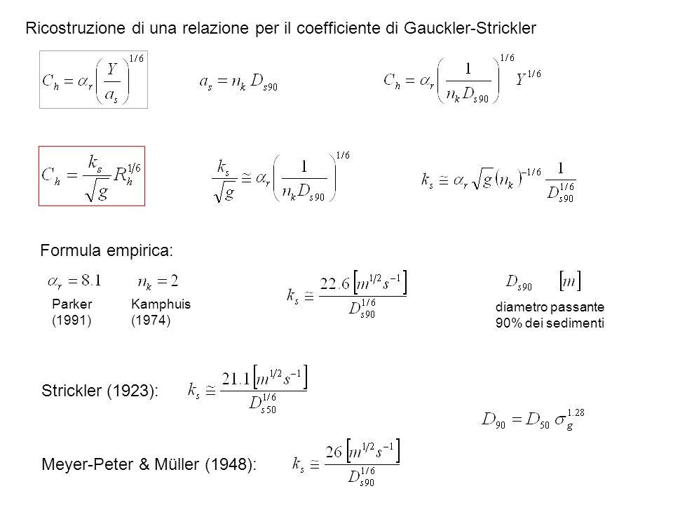 Ricostruzione di una relazione per il coefficiente di Gauckler-Strickler diametro passante 90% dei sedimenti Kamphuis (1974) Parker (1991) Formula emp