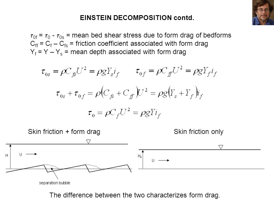 EINSTEIN DECOMPOSITION contd. 0f = 0 - 0s = mean bed shear stress due to form drag of bedforms C ff = C f – C fs = friction coefficient associated wit