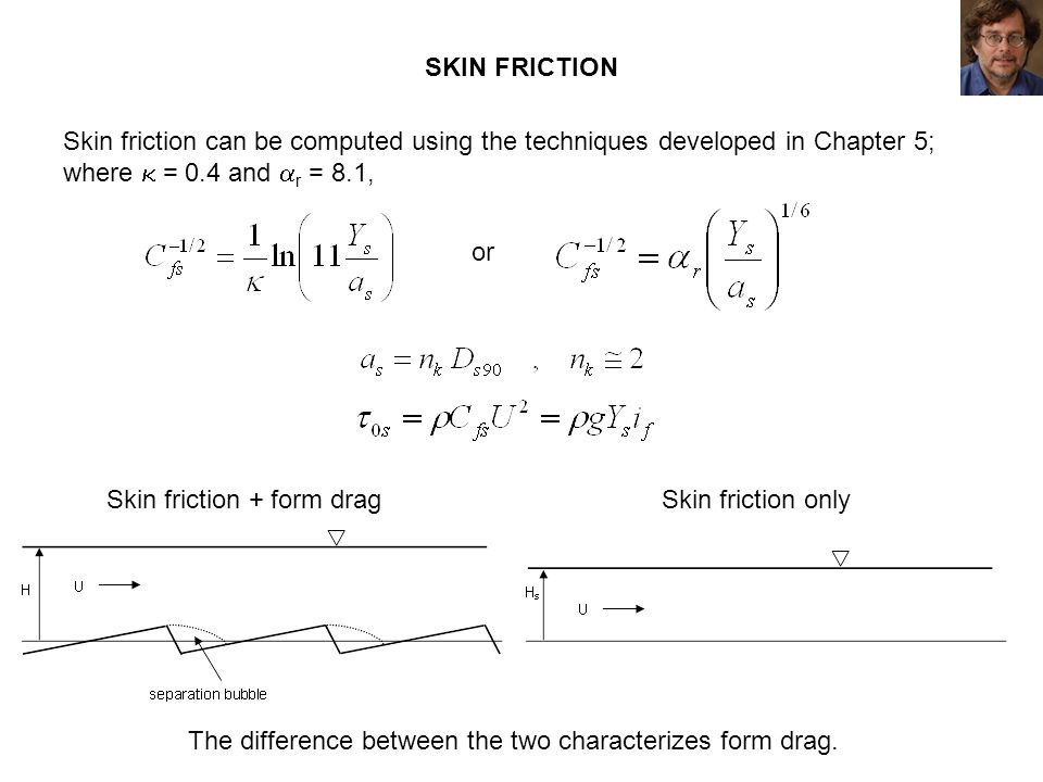 SKIN FRICTION Skin friction can be computed using the techniques developed in Chapter 5; where = 0.4 and r = 8.1, Skin friction + form dragSkin fricti