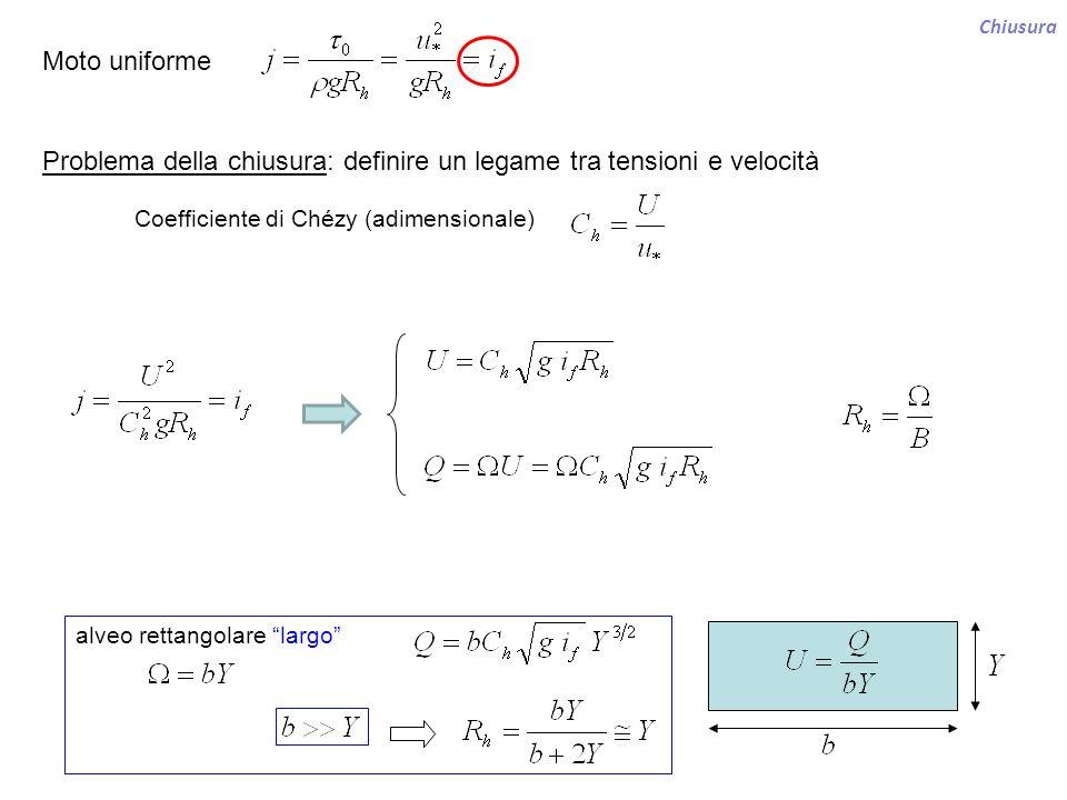 Chiusura Moto uniforme Problema della chiusura: definire un legame tra tensioni e velocità alveo rettangolare largo Coefficiente di Chézy (adimensiona