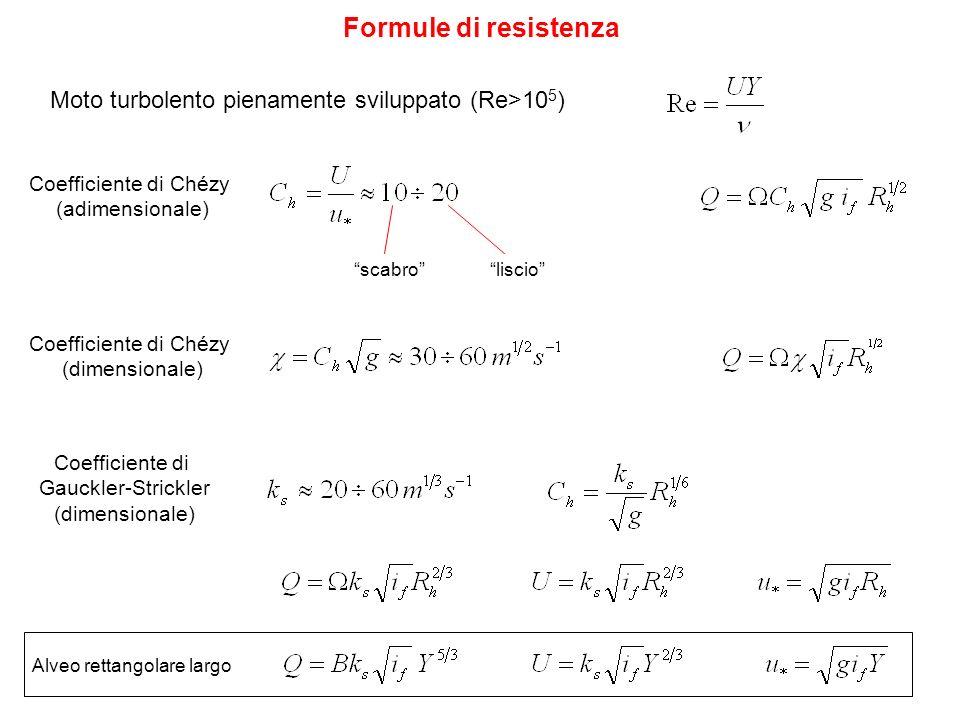Coefficiente di Chézy (adimensionale) Formule di resistenza scabroliscio Coefficiente di Chézy (dimensionale) Moto turbolento pienamente sviluppato (R