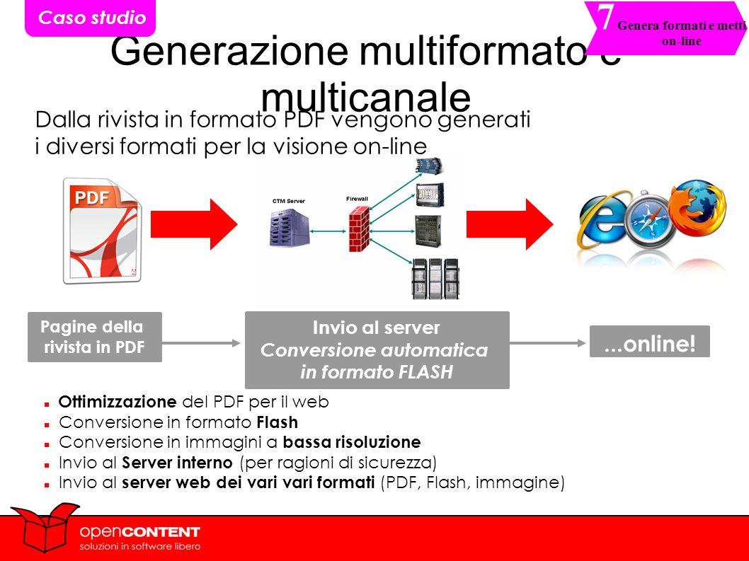 18 Generazione multiformato e multicanale Dalla rivista in formato PDF vengono generati i diversi formati per la visione on-line Pagine della rivista in PDF Invio al server Conversione automatica in formato FLASH...online.