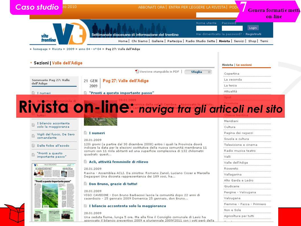 Rivista on-line: naviga tra gli articoli nel sito Caso studio Genera formati e metti on-line 7