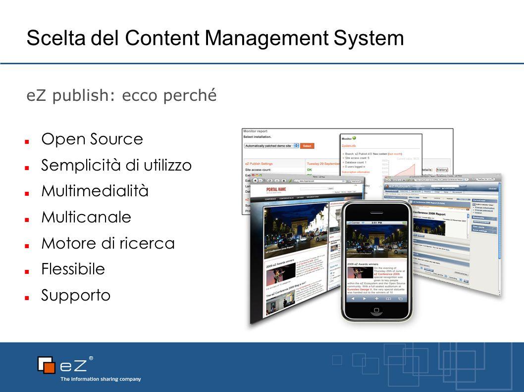 Scelta del Content Management System eZ publish: ecco perché Open Source Semplicità di utilizzo Multimedialità Multicanale Motore di ricerca Flessibile Supporto