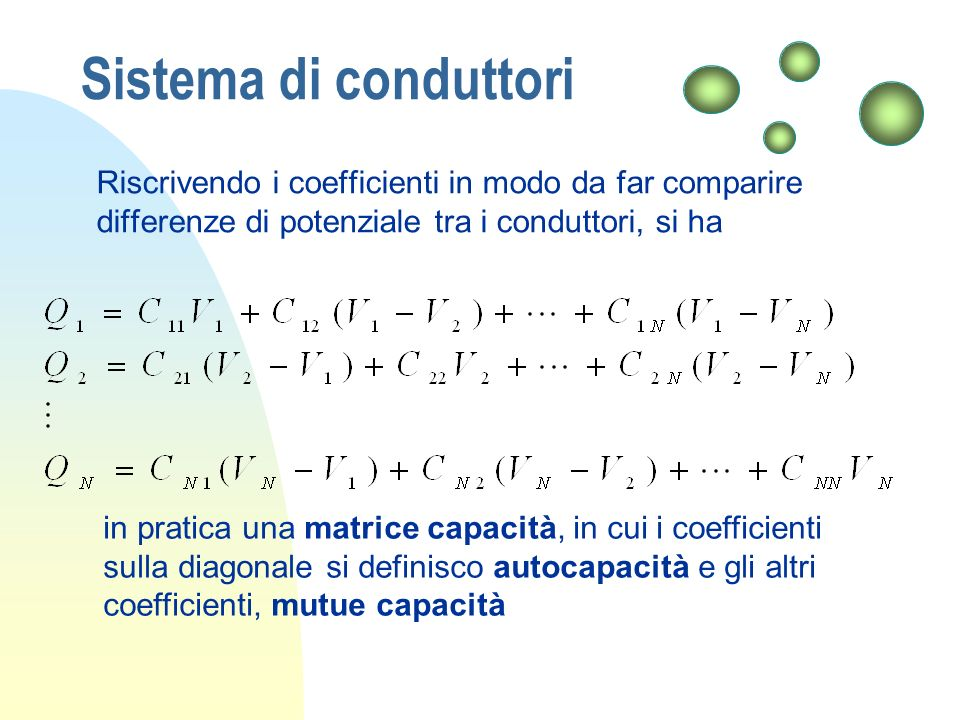 Sistema di conduttori Riscrivendo i coefficienti in modo da far comparire differenze di potenziale tra i conduttori, si ha in pratica una matrice capa