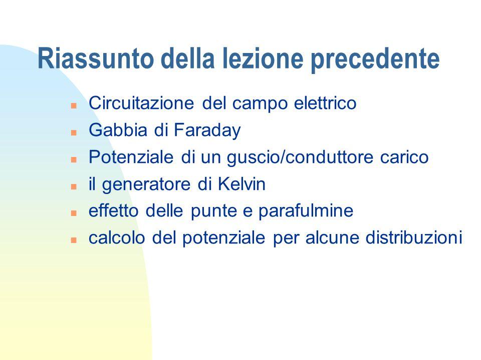 Riassunto della lezione precedente n Circuitazione del campo elettrico n Gabbia di Faraday n Potenziale di un guscio/conduttore carico n il generatore di Kelvin n effetto delle punte e parafulmine n calcolo del potenziale per alcune distribuzioni