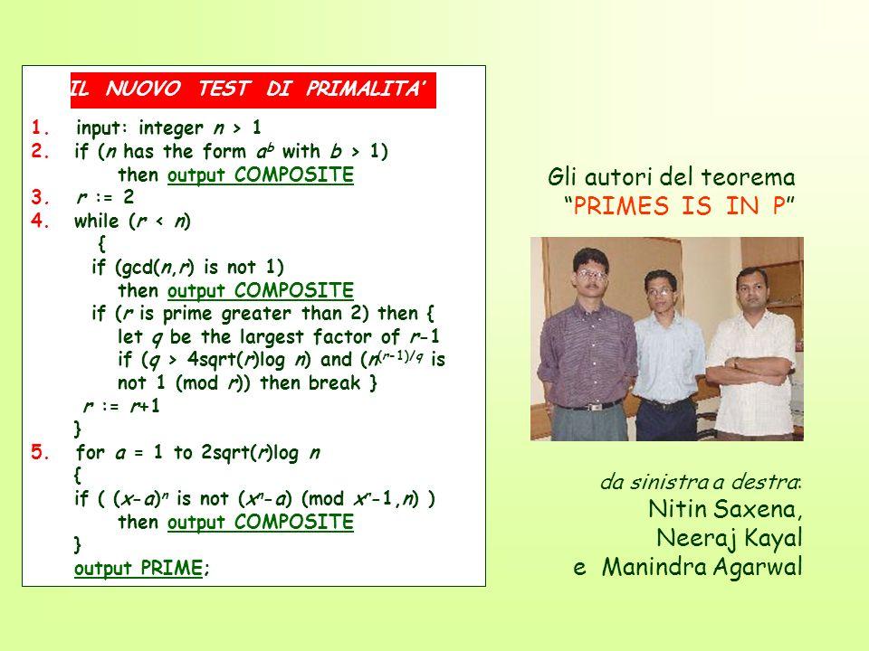 da sinistra a destra: Nitin Saxena, Neeraj Kayal e Manindra Agarwal Gli autori del teorema PRIMES IS IN P 1. input: integer n > 1 2.if (n has the form