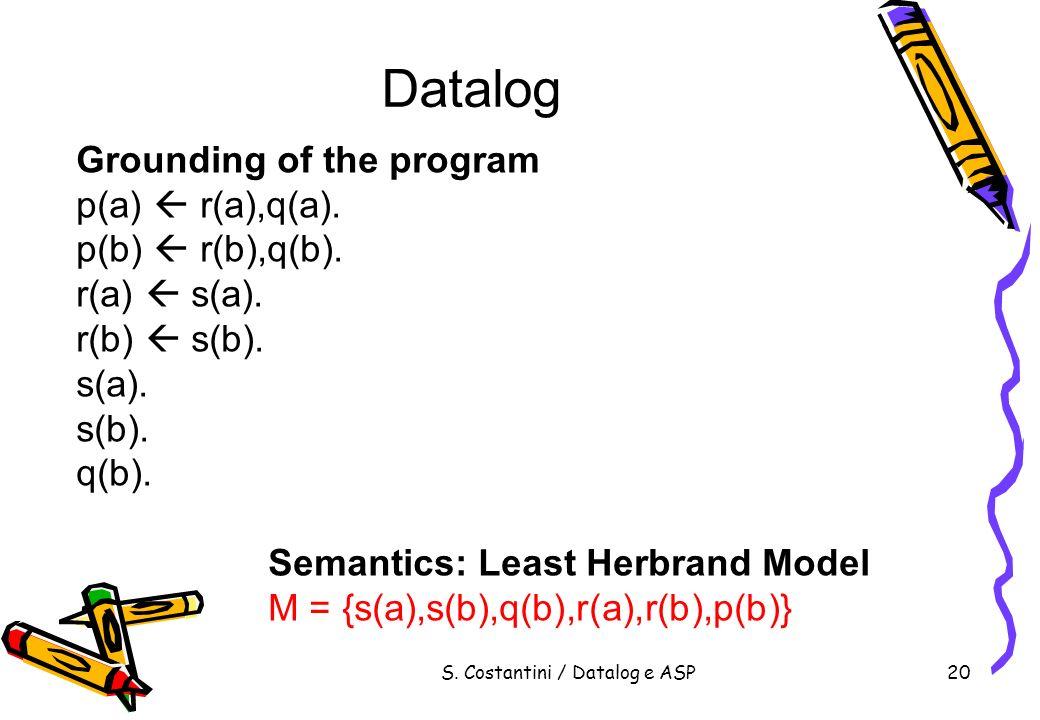S. Costantini / Datalog e ASP20 Datalog Grounding of the program p(a) r(a),q(a). p(b) r(b),q(b). r(a) s(a). r(b) s(b). s(a). s(b). q(b). Semantics: Le