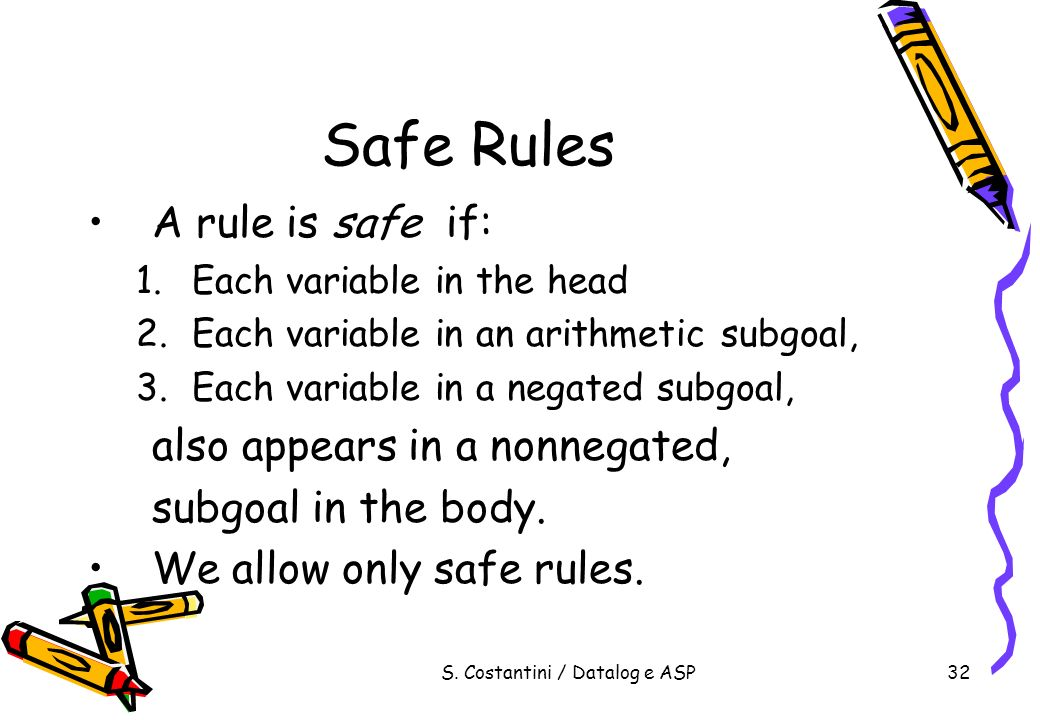 S. Costantini / Datalog e ASP32 Safe Rules A rule is safe if: 1.Each variable in the head 2.Each variable in an arithmetic subgoal, 3.Each variable in