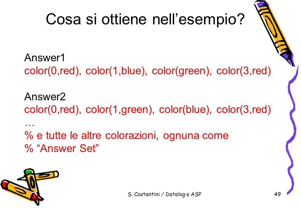 S. Costantini / Datalog e ASP49 Cosa si ottiene nellesempio? Answer1 color(0,red), color(1,blue), color(green), color(3,red) Answer2 color(0,red), col