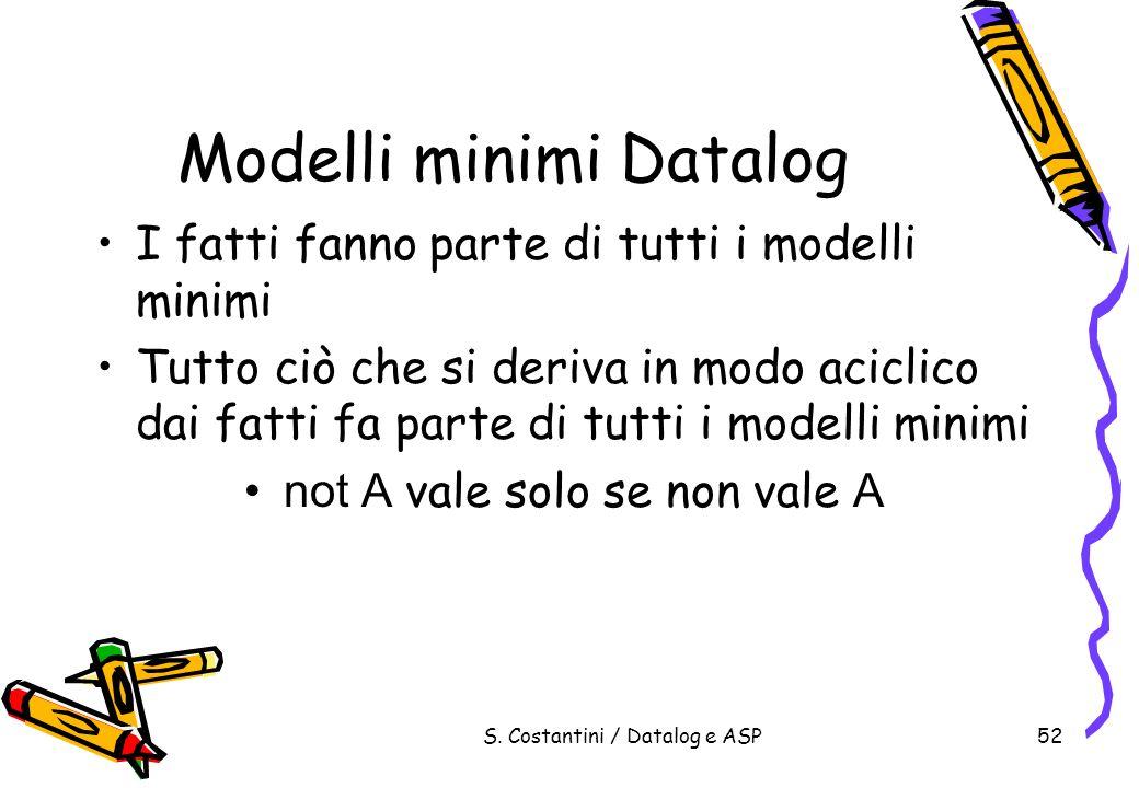 S. Costantini / Datalog e ASP52 Modelli minimi Datalog I fatti fanno parte di tutti i modelli minimi Tutto ciò che si deriva in modo aciclico dai fatt
