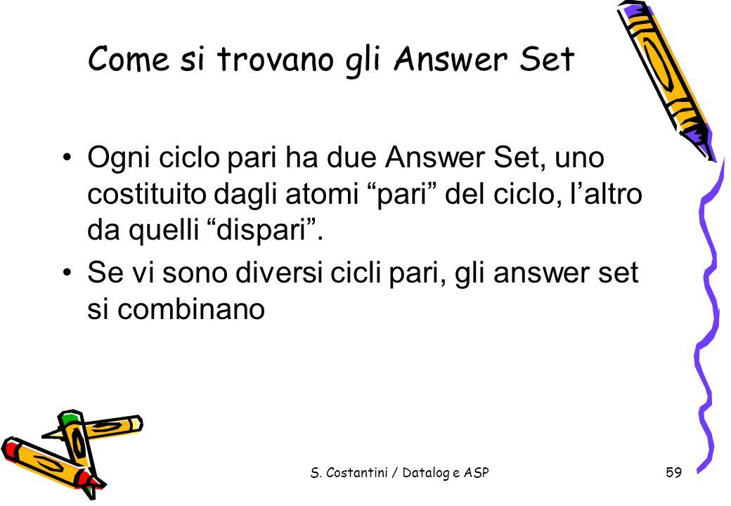 S. Costantini / Datalog e ASP59 Come si trovano gli Answer Set Ogni ciclo pari ha due Answer Set, uno costituito dagli atomi pari del ciclo, laltro da