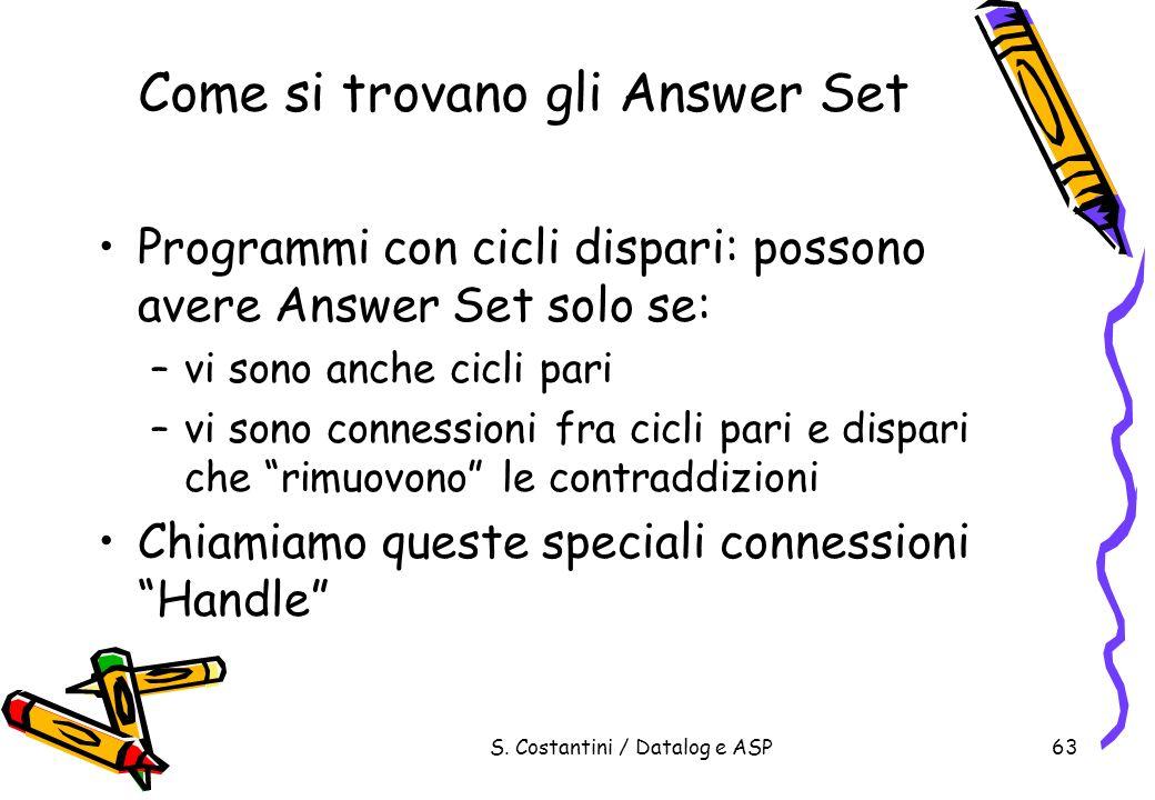 S. Costantini / Datalog e ASP63 Come si trovano gli Answer Set Programmi con cicli dispari: possono avere Answer Set solo se: –vi sono anche cicli par