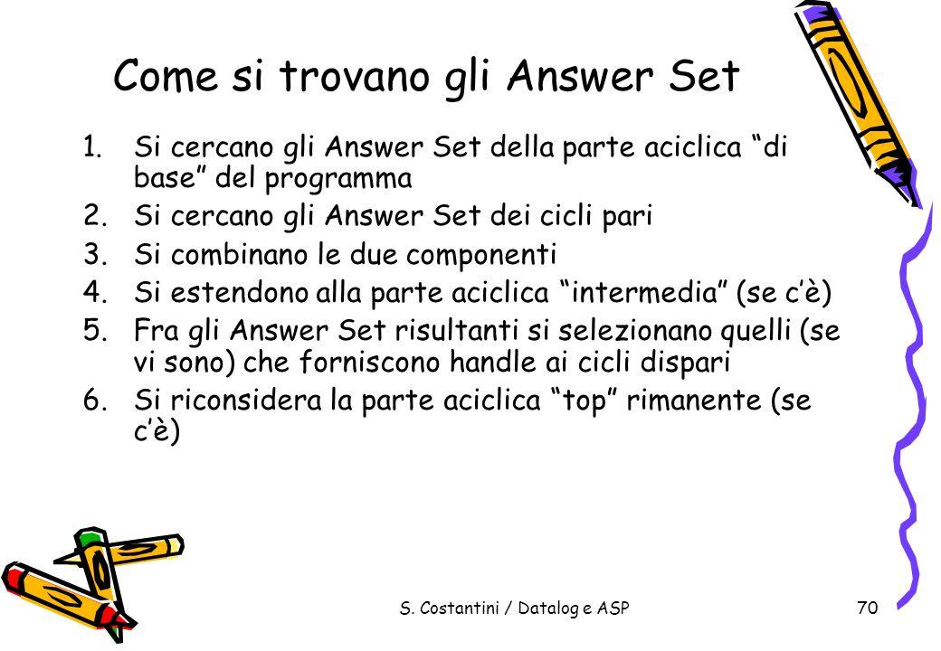 S. Costantini / Datalog e ASP70 Come si trovano gli Answer Set 1.Si cercano gli Answer Set della parte aciclica di base del programma 2.Si cercano gli