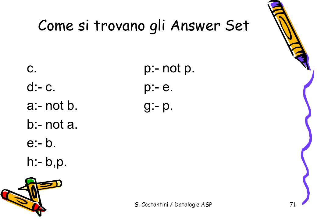 S. Costantini / Datalog e ASP71 Come si trovano gli Answer Set c.p:- not p. d:- c.p:- e. a:- not b.g:- p. b:- not a. e:- b. h:- b,p.