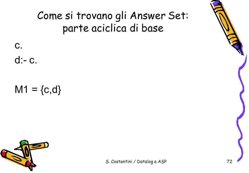 S. Costantini / Datalog e ASP72 Come si trovano gli Answer Set: parte aciclica di base c. d:- c. M1 = {c,d}