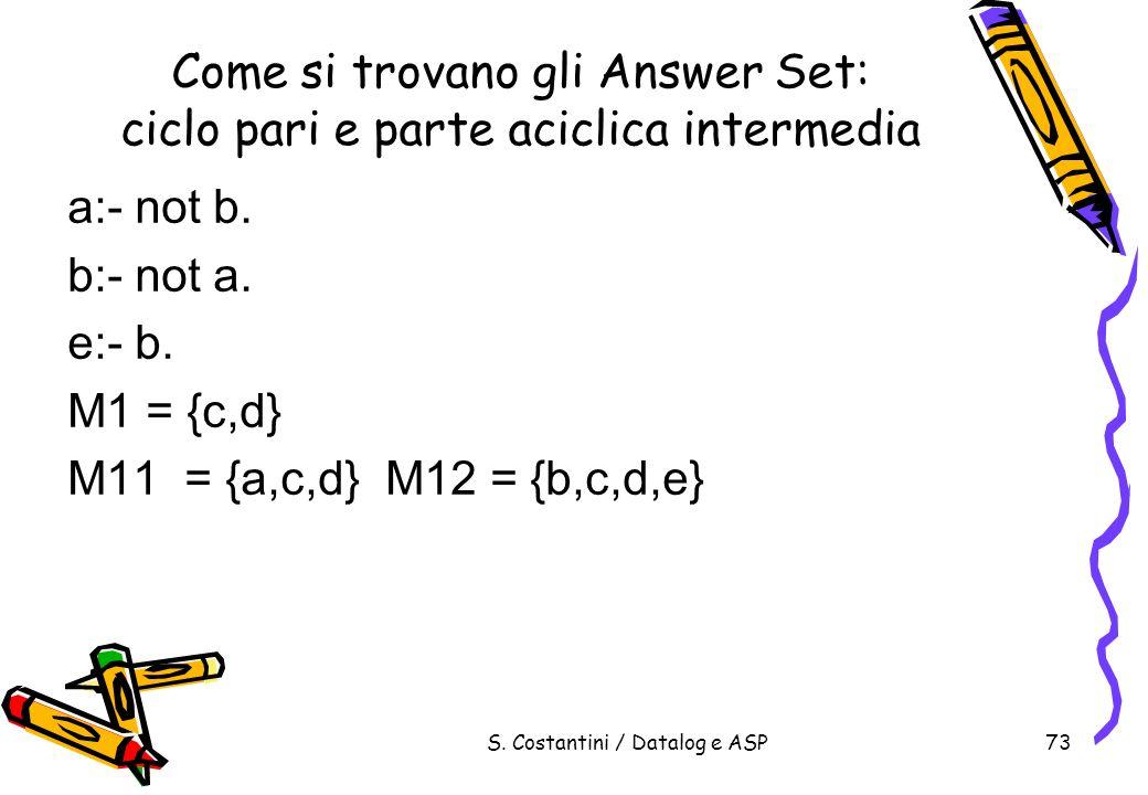 S. Costantini / Datalog e ASP73 Come si trovano gli Answer Set: ciclo pari e parte aciclica intermedia a:- not b. b:- not a. e:- b. M1 = {c,d} M11 = {