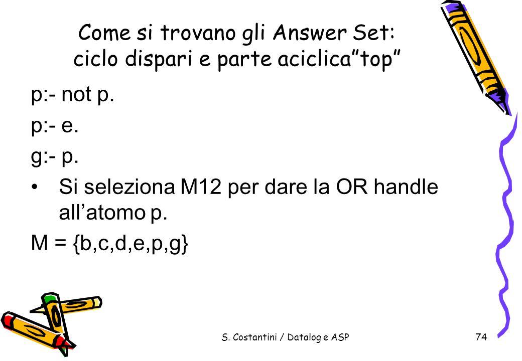 S. Costantini / Datalog e ASP74 Come si trovano gli Answer Set: ciclo dispari e parte aciclicatop p:- not p. p:- e. g:- p. Si seleziona M12 per dare l