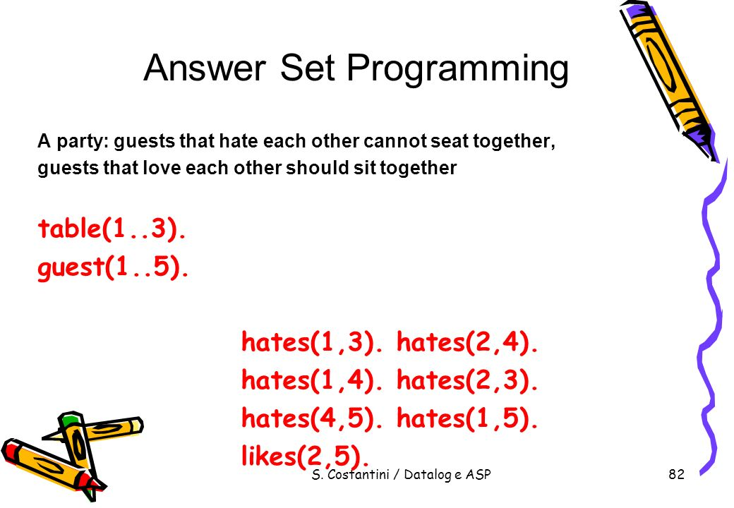 S. Costantini / Datalog e ASP82 Answer Set Programming A party: guests that hate each other cannot seat together, guests that love each other should s