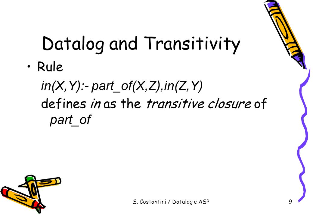 S.Costantini / Datalog e ASP20 Datalog Grounding of the program p(a) r(a),q(a).