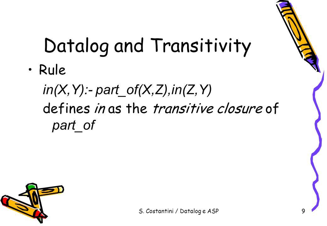 S.Costantini / Datalog e ASP80 Answer Set Programming Choice (XOR) v+w+z.
